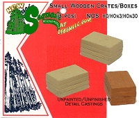 Wood Boxes/Crates - Small 3pcs Sequoia Scale Models HO/HOn3