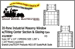 20-Pane Industrial Masonry Window w/Tilting Center & Glazing-2pcs Grandt Line/Tichy HO/1:87