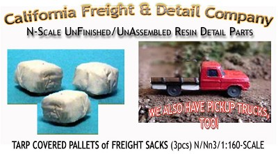 Tarp Covered PALLETED SACKS (3pcs) N/Nn3/1:160-Scale CAL FREIGHT & DETAIL