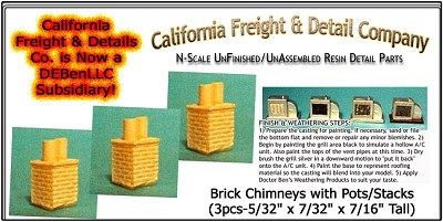 Brick Chimneys with Pots/Stacks (3pcs) N/Nn3/1:160-Scale California Freight & Details Co.