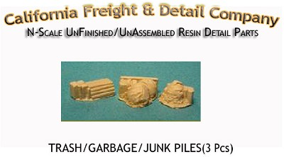 Trash/Garbage/Junk Piles (3pcs) N/Nn3/1:160-Scale California Freight & Details Co.