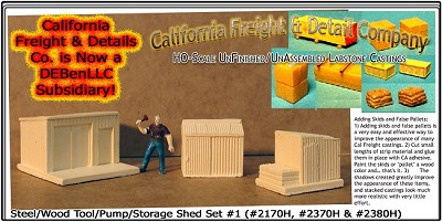 Steel/Wood Tool/Pump/Storage Shed Set (3pcs) HO/1:87 California Freight & Details Co