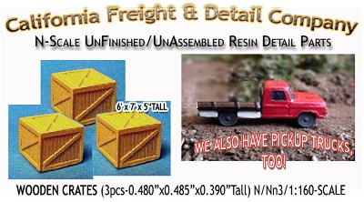 WOODEN CRATES/BOXES-xLARGE (3pcs) N/Nn3/1:160-Scale CALIFORNIA FREIGHT