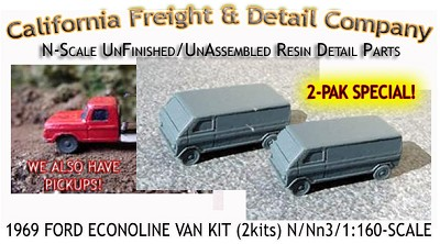 1969 FORD ECONOLINE VAN KIT (2 Kits) CAL FREIGHT & DETAIL N/Nn3-Scale