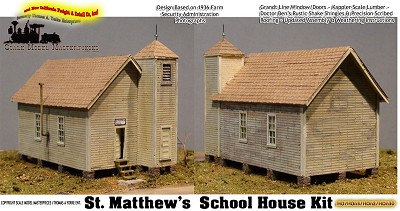 St. Matthew's School House Kit Scale Model Masterpieces/Yorke HO/HOn3