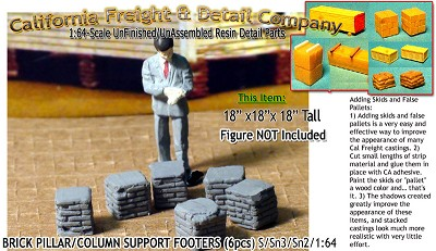 Brick Deck/Pillar/Column Support Footers (4pcs) Scale Model Masterpieces / Thomas A Yorke Ent. S/1:64