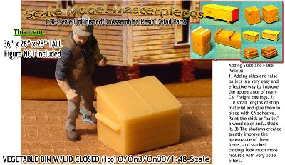 Wooden Vegetable/Produce Bins-Closed (1pc) SCALE MODEL MASTERPIECES O/On3/On30/1:48 *NEW*