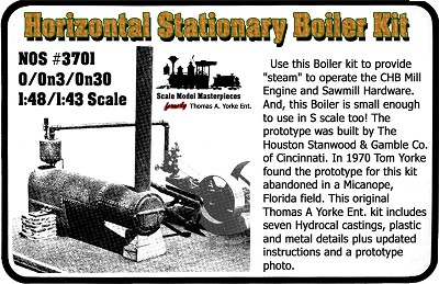 Stationary Horizontal Boiler Kit Yorke/Scale Model Masterpieces O/On3/1:48