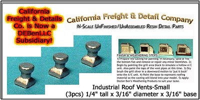 Industrial Roof Vents-Small (3pcs) N/Nn3/1:160-Scale California Freight & Details Co