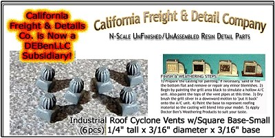 Industrial Roof Cyclone Vents w/Square Base-Small (6pcs) N/Nn3/1:160-Scale California Freight & Details Co