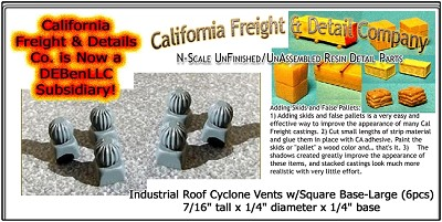 Industrial Roof Cyclone Vents w/Square Base-Large (6pcs) N/Nn3/1:160-Scale California Freight & Details Co