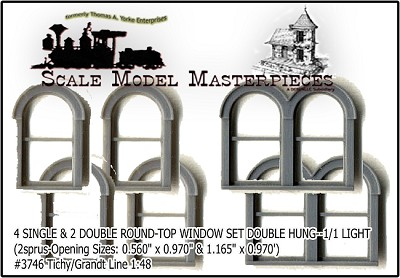 SINGLE & DOUBLE ROUND-TOP WINDOW SET DOUBLE HUNG-(2sets) Grandt/Tichy On3/On30