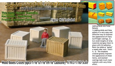 Wood Crates/Boxes-XLarge (6pcs) N/Nn3/1:160-Scale Model Masterpieces
