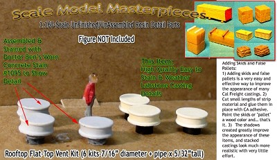 Rooftop Flat-Top Power Vent Kit (6 kits) Scale Model Masterpieces N/Nn3/1;160