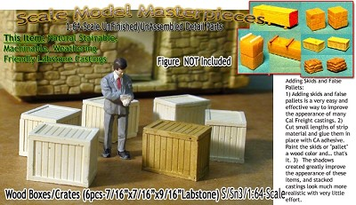 WOOD CRATES/BOXES (6pcs) Scale Model Masterpieces/Yorke Sn3/1;64
