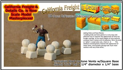 Industrial Roof Cyclone Vents w/Square Base (6pcs) California Freight & Details Co. HO/HOn3/HOn30