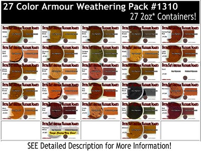 27-COLOR ARMOR/MILITARY/AUTO Weathering Pigment Set & Booklet #3-Doctor Ben's