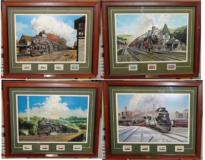 Postal Commemorative Society Set Jim Deneen Collectable Railroad Stamps & Prints