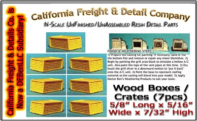 Wood Shipping Boxes/Crates-Large (7pcs) N/1:160 Scale Model Masterpieces