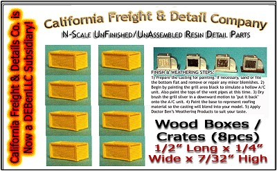Wood Crates/Boxes-Small (8pcs) N/1:160 Scale Model Masterpieces