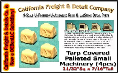 Tarp Covered Palleted Small Machinery (4pcs) N/Nn3/1:160-Scale Model Masterpieces