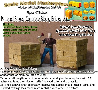 Wood/Cardboard Boxes, Pallet Stacked-Medium (2pcs) Scale Model Masterpieces / Thomas A Yorke Ent. HO/1:87