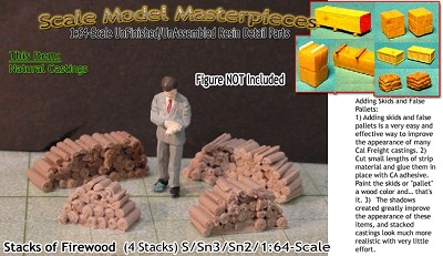 FIREWOOD STACKS (4pcs) S/Sn2/Sn3/Sn42-1:64 Yorke/Scale Model Masterpieces