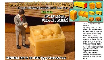 Wooden Vegetable/Produce Bins-Open (1pc) Scale Model Masterpieces /Sn3/1:64