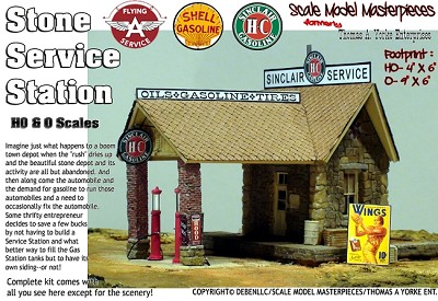 Stone Service Station (Flying A, Shell, or Sinclair HC) Kit Scale Model Masterpieces/YORKE 1:48/O/On3