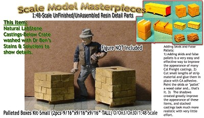 Palleted Boxes/Cinder Blocks-Medium (2pcs) Scale Model Masterpieces O/On3/On30/1:48 *NEW*