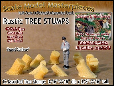 Rustic Tree Stumps-Assorted Sloped 12pcs Scale Model Masterpieces S/1:64