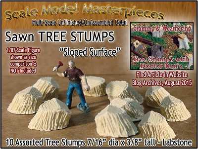 Sawn Tree Stumps-Assorted Sloped Surface (10pcs) Scale Model Masterpieces HO/1:87