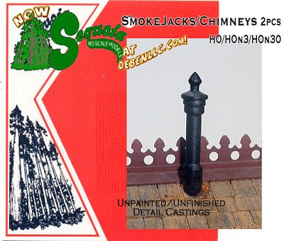 Smoke Jacks/Chimneys 2pcs  HOn3/HOn30 Sequoia Models NOS