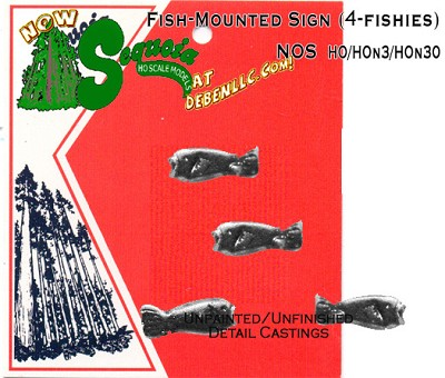Large Mounted Fresh Water Fish Sign 3pcs Sequoia Scale Models HO/HOn3