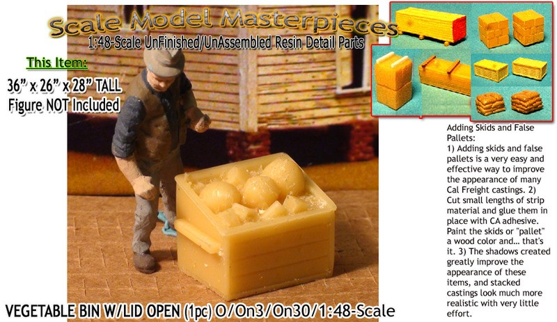 Wooden Vegetable/Produce Bins-Open  (1pc) Scale Model Masterpieces/O/On3/On30/1:48